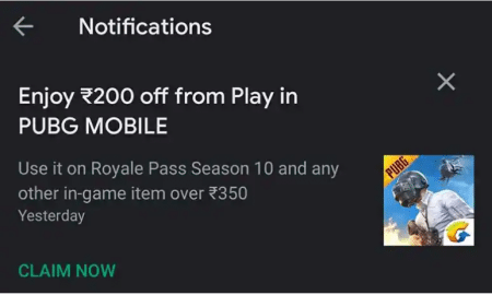 Rs.200 Coupon Free for PUBG Mobile